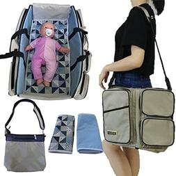 Stylish Diaper Bag Set / Converts to Travel Bassinet / Baby