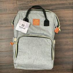Stylish Diaper Bag Travel Backpack Large Grey Pockets Waterp