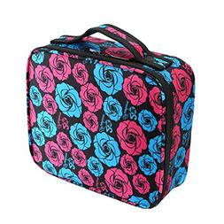 HOYOFO Travel Makeup Train Case with Adjustable Dividers Whi