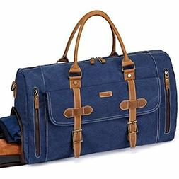 Travel Duffels Canvas Bag,Vaschy Leather Duffle Tote With Sh