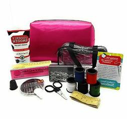 Travel Essentials Kit with Caboodles Pink Satin Cosmetic Bag