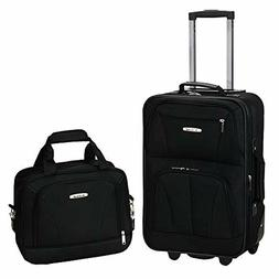 Rockland Travel Luggage 2 Piece Set, Black, Medium Storage B
