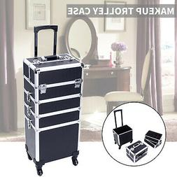 Travel Makeup Train Case Cosmetic Bag Professional Rolling V