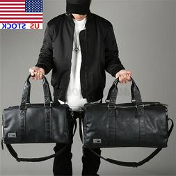 US Men Leather Travel Gym Luggage Weekend Overnight Duffle S