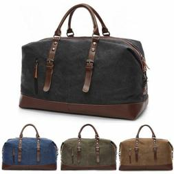 Vintage Men's Canvas Leather Travel Duffle Bag Shoulder Week