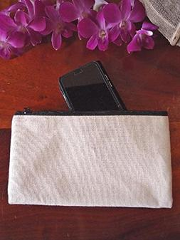 White Canvas Zippered Cosmetic Makeup Bags Travel Organizer