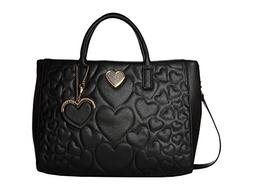Betsey Johnson Women's Structured Quilt Satchel Black One Si