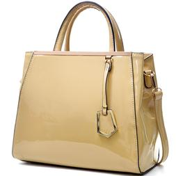 Dasein Womens Handbags Patent Leather Satchel Tote Shoulder