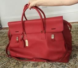 XXL Real Leather Duffel luggage gym Travel Bag red vintage